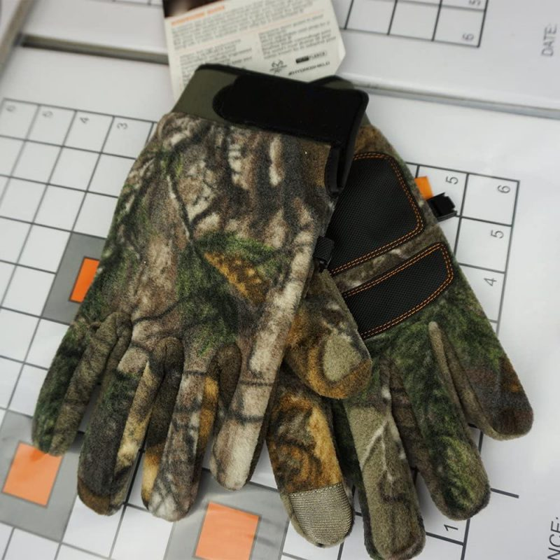 Camouflage Hunting Full Finger and Fingerless Gloves for Men with Touchscreen Compatibility, Fleece and Half Finger Glove for Shooting, Driving, Fishing, Climbing