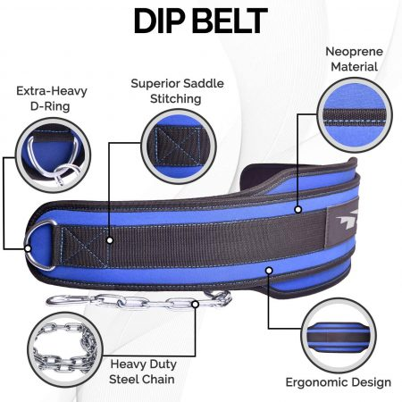 Fitness Neoprene Dip Belt for Weight lifting, Pullups, Powerlifting, Crossfit, and Bodybuilding Workouts, Weight Dip Belt With Chain Made of Heavy Duty Steel with Comfortable Waist Support
