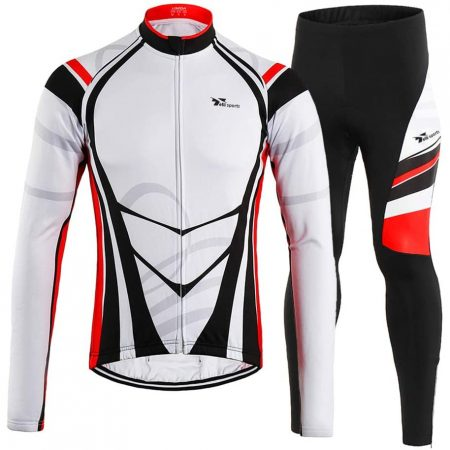 Long Sleeve Shirt Padded Pants Men's Cycling Suit For Winter Thermal Fleece - Mountain Bike & Road Bicycle
