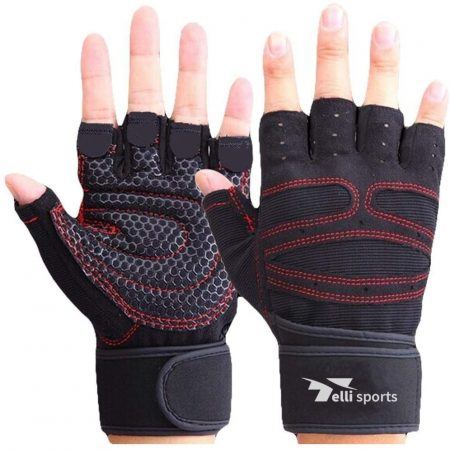 Anti-Slip Silica Gel Grip Workout Gloves with Wrist Support And Adjustable Velcro Strap