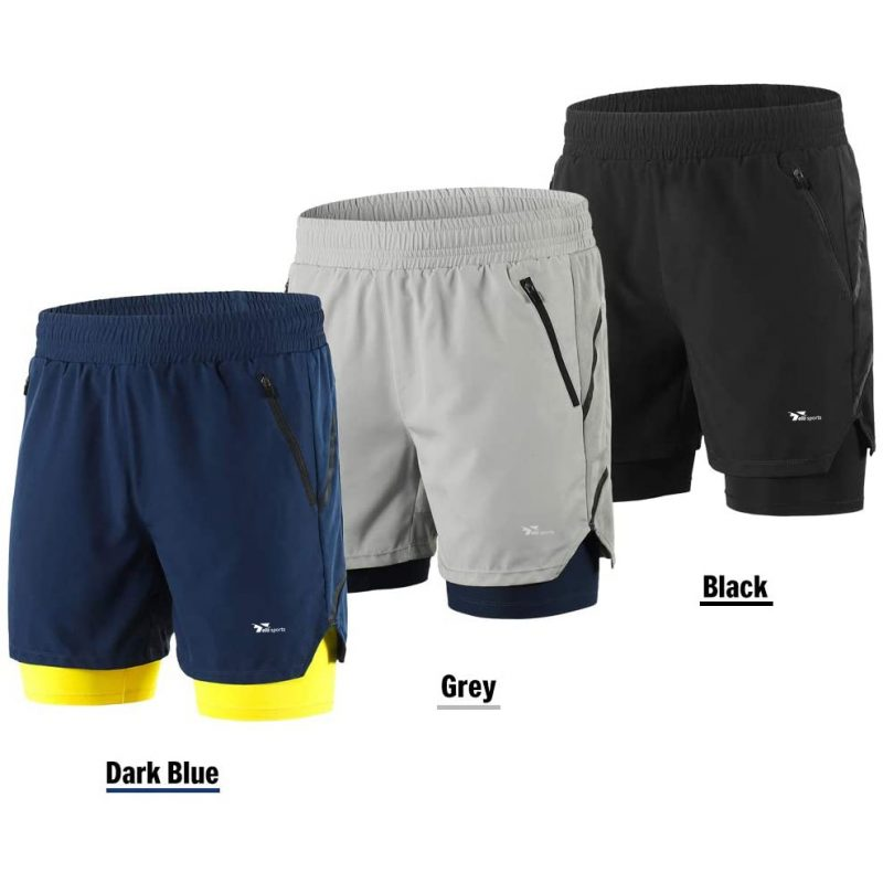 Running And Cycling Shorts - Men 2 in 1 Quick Drying Shorts