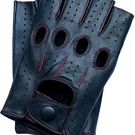 Motorsports Men's Fingerless Gloves For Motorcycle Driving And Fitness Unlined Leather Gloves